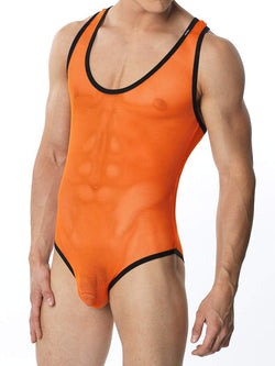 Men's orange see through fish net leotard bodysuit