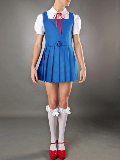 Men's blue sexy school girl crossdressing uniform costume dress