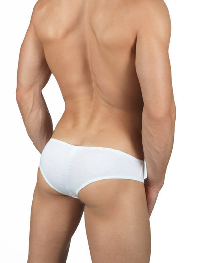 Men's white soft rayon cheeky brief panties