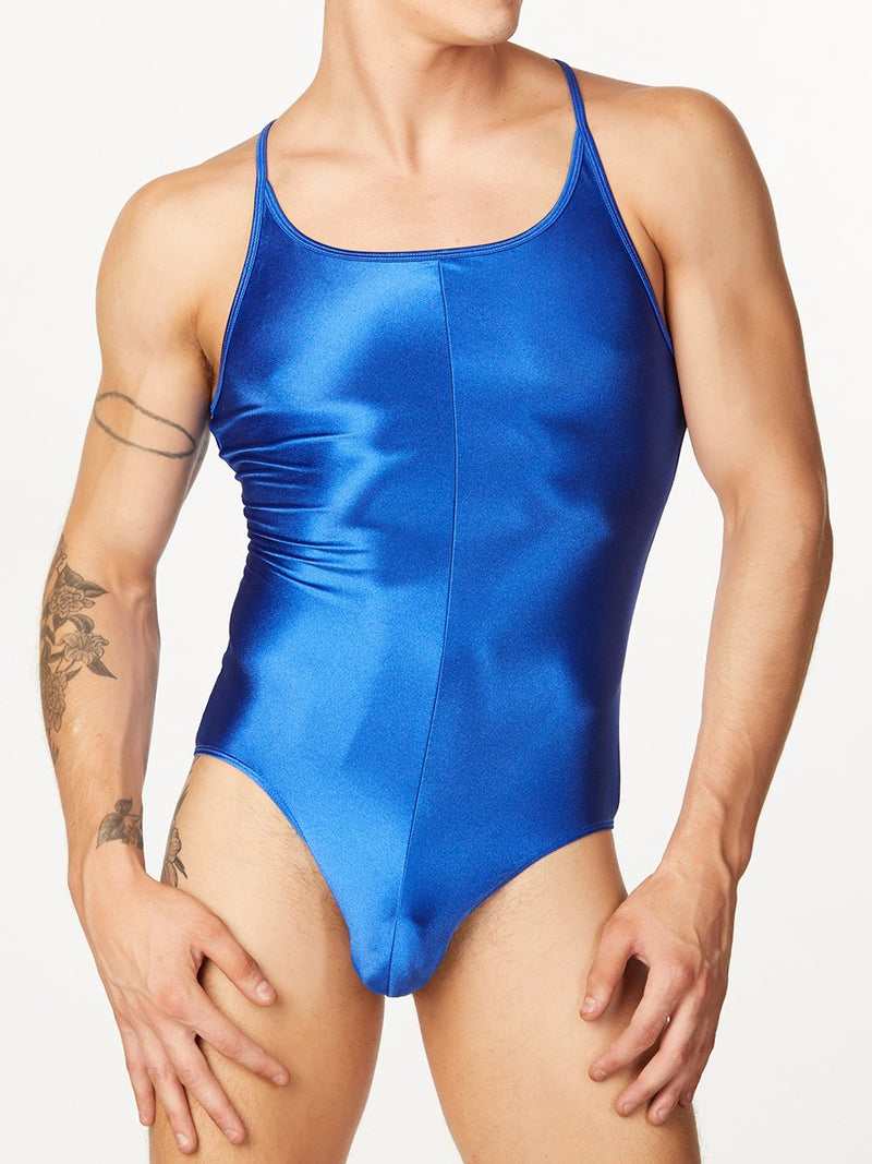 men's blue satin bodysuit
