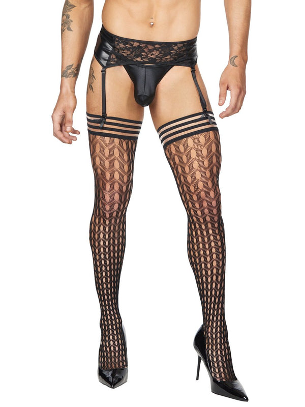 men's fishnet thigh high stockings
