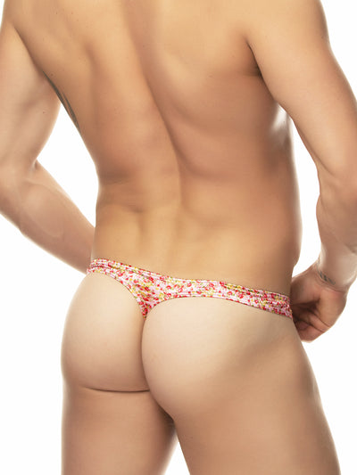 men's pink print thong underwear