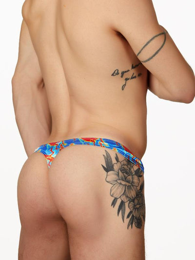 Men's blue satin print thong