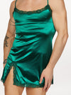 men's green satin and lace nightie