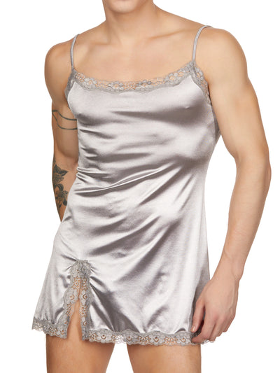 men's silver satin and lace nightie