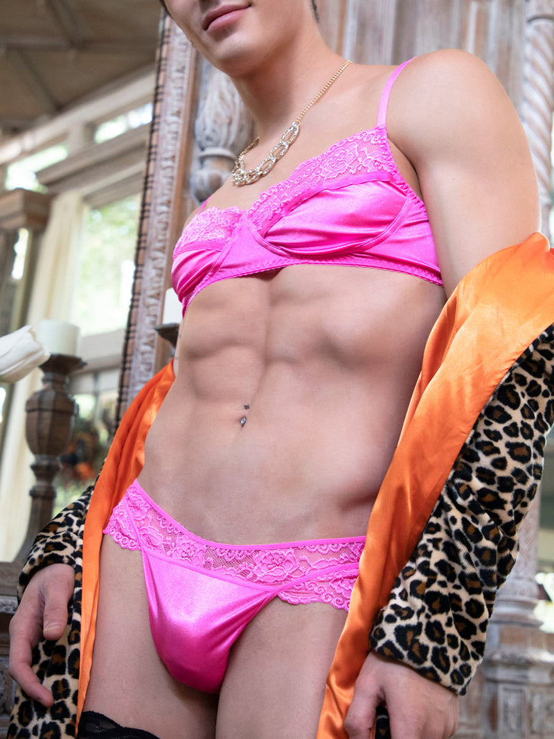 men's pink satin and lace bra
