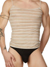 men's beige ribbed striped tank top