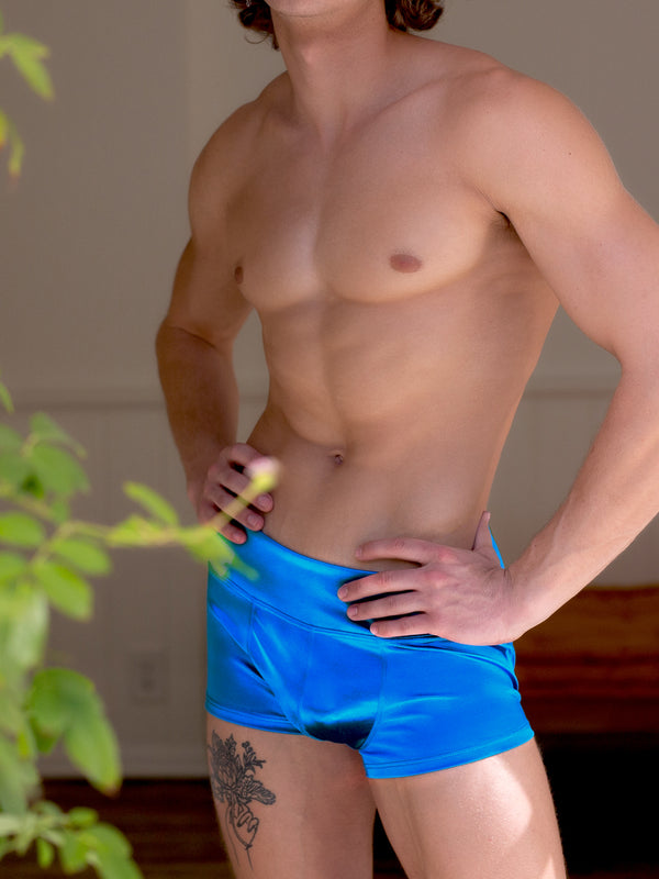 Men's blue satin shorts