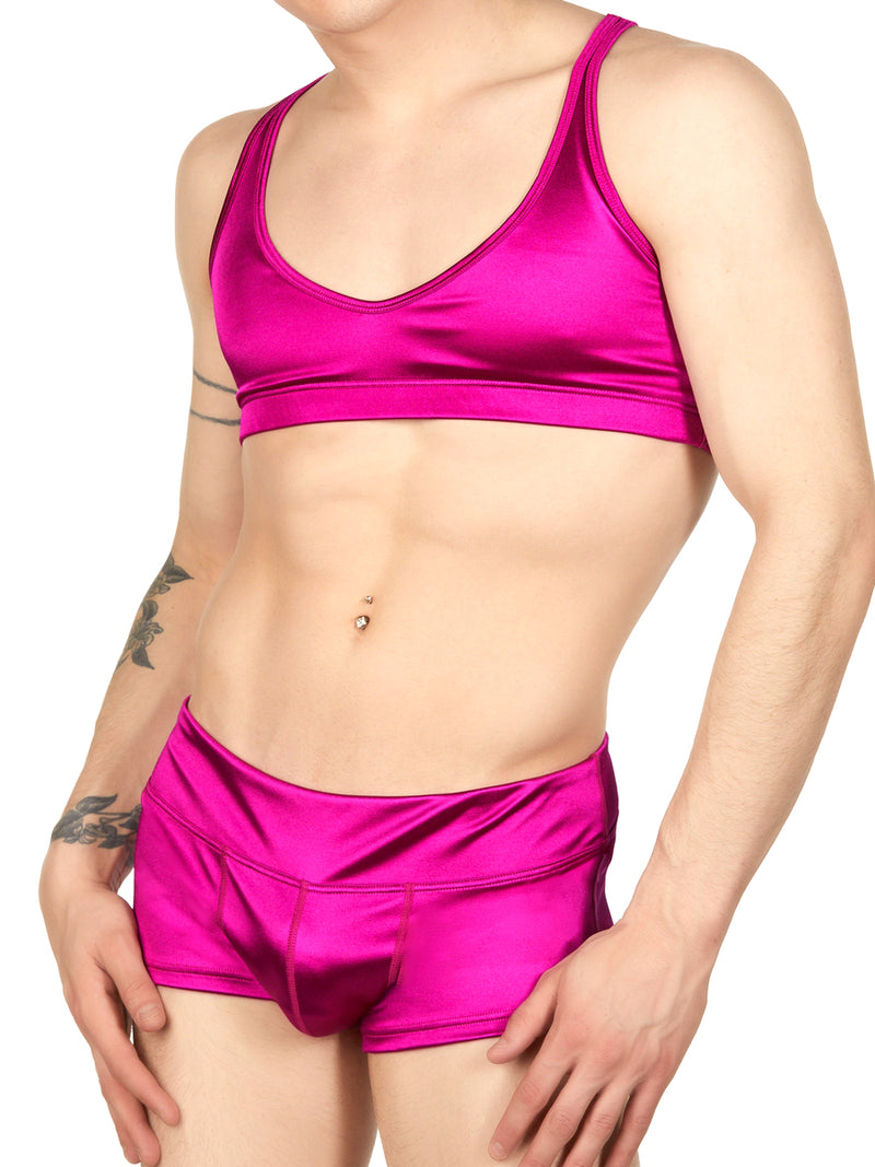 Men's pink satin bra