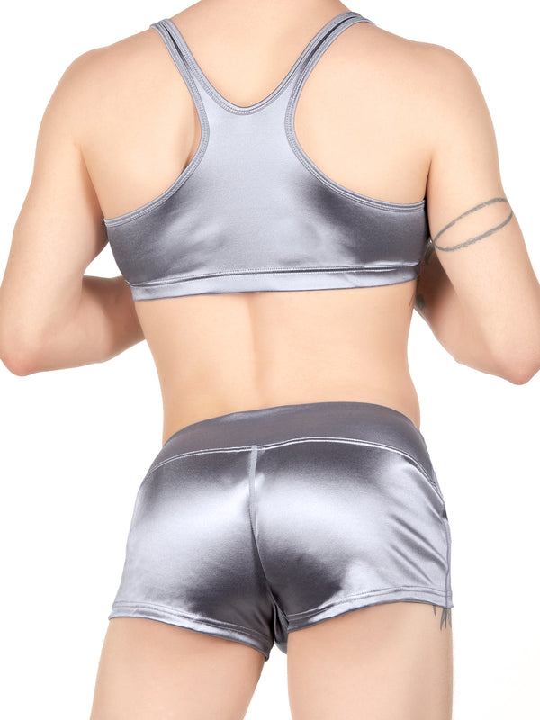 Men's silver satin bra
