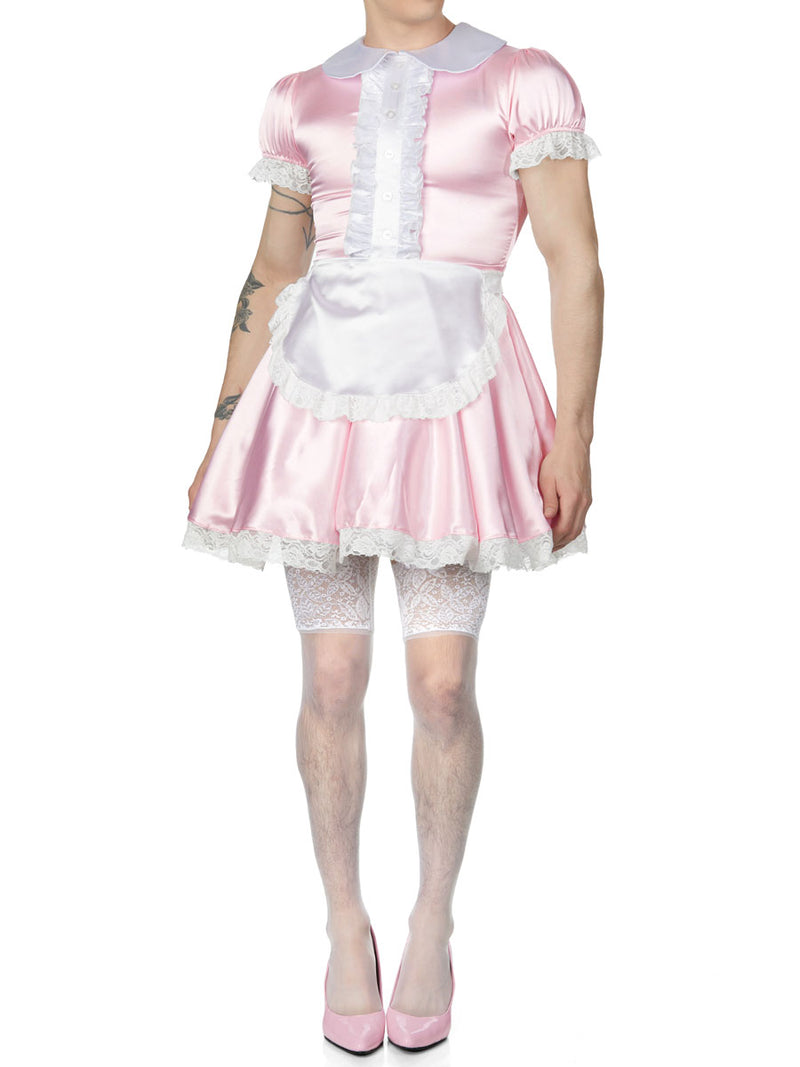 men's pink satin maid dress