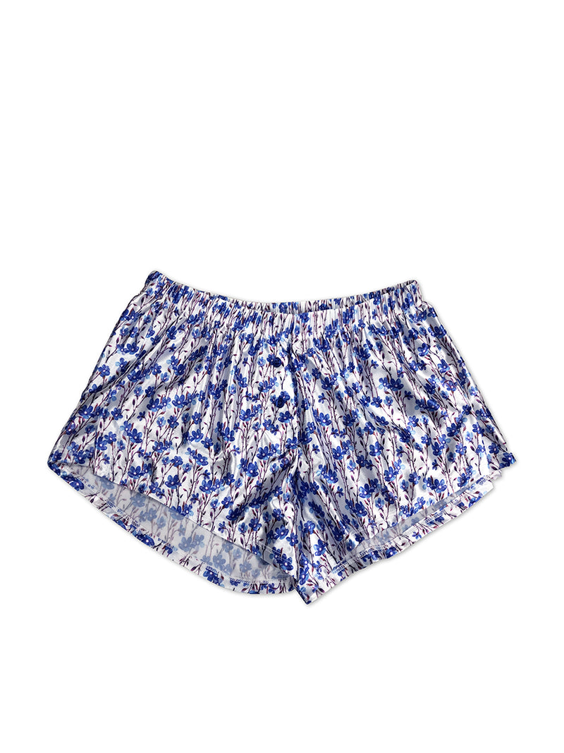 men's blue print satin sleep shorts
