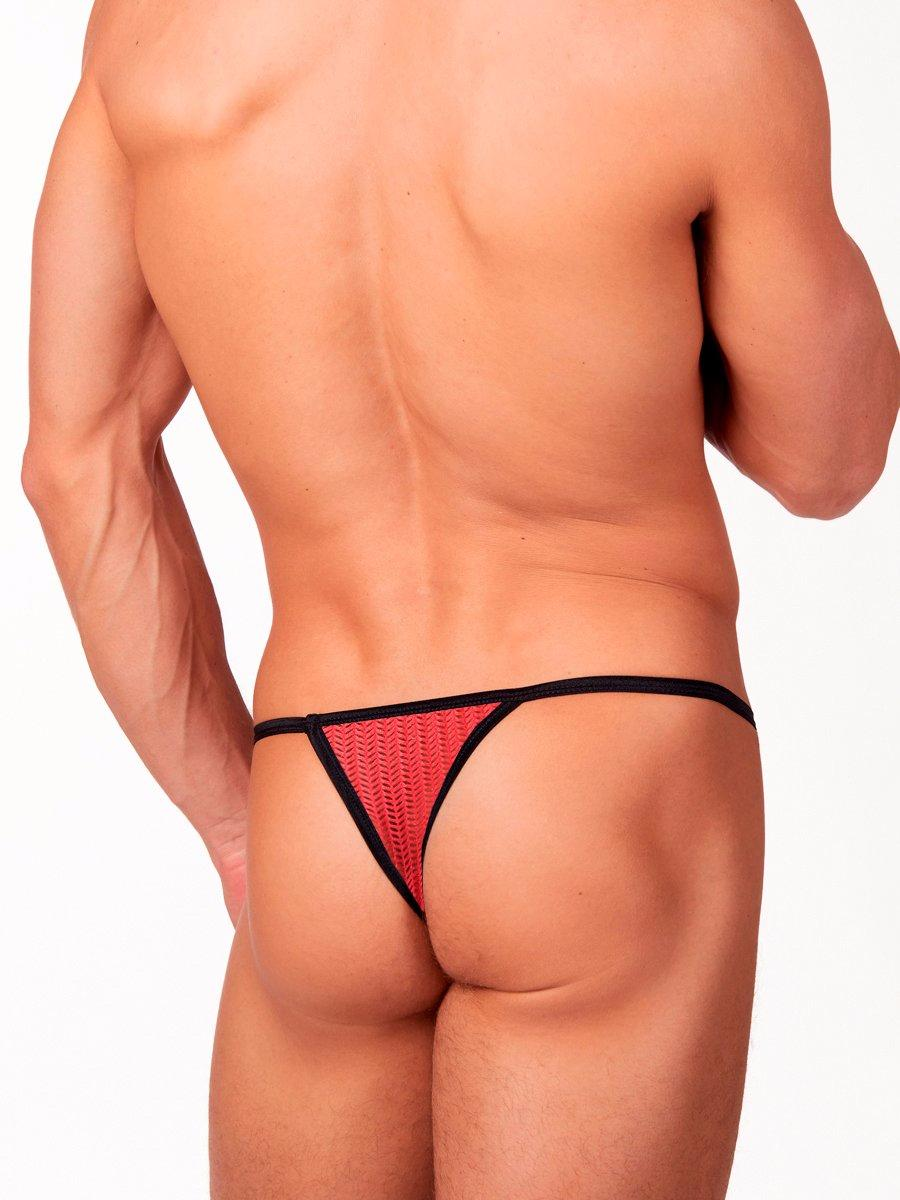 Men's pink see through mesh thong underwear