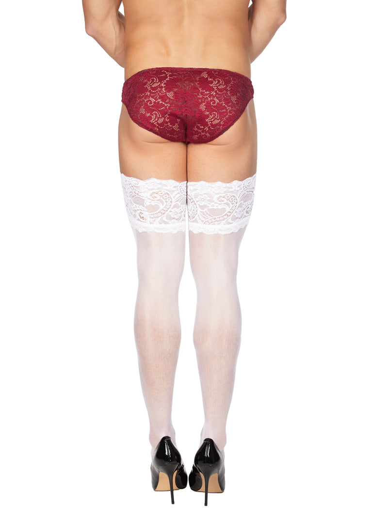 Men's Thigh High Lace Top Stockings