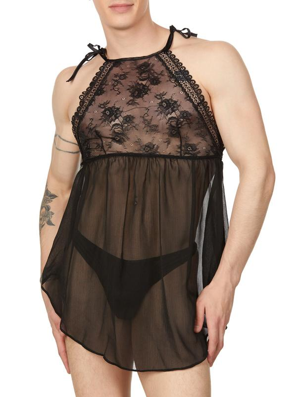 men's black chiffon and lace nightie