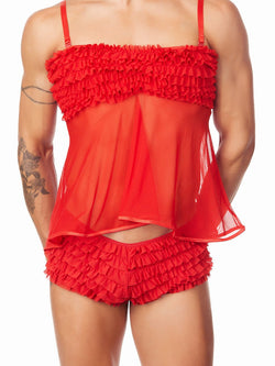 men's red ruffled nightie