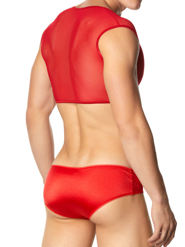 Men's red mesh crop top