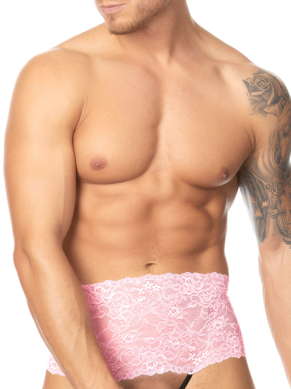 Men's pink lace crotchless panty