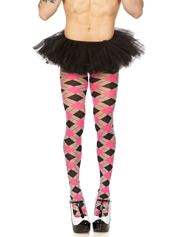 men's pink argyle pantyhose