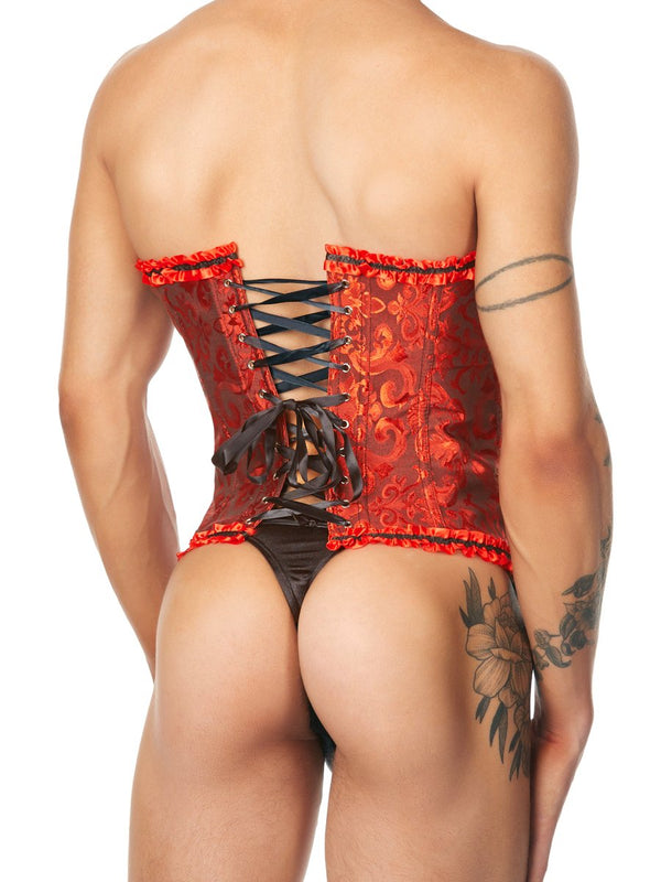 Men's Black and Red Corset