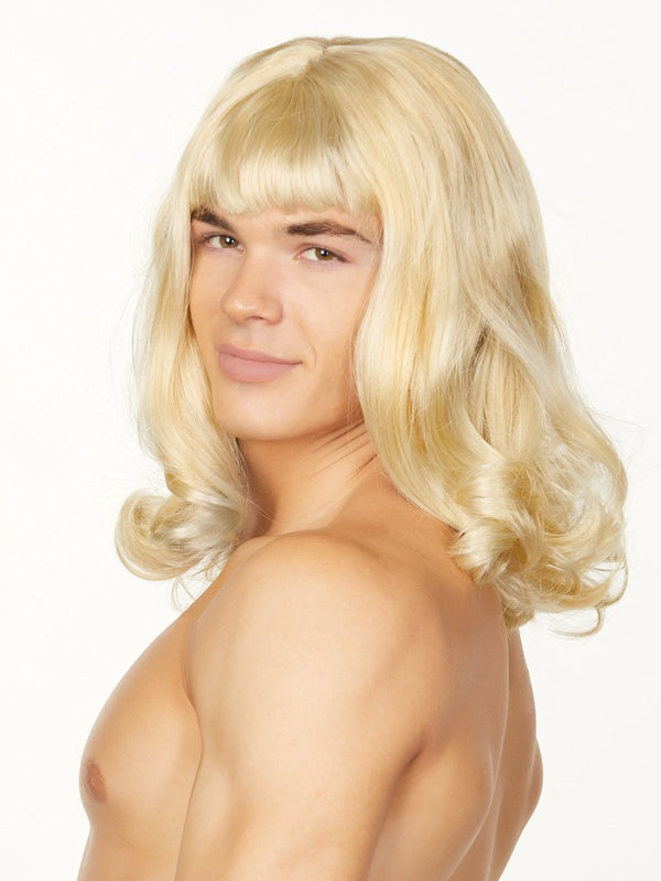 men's blonde crossdressing wig