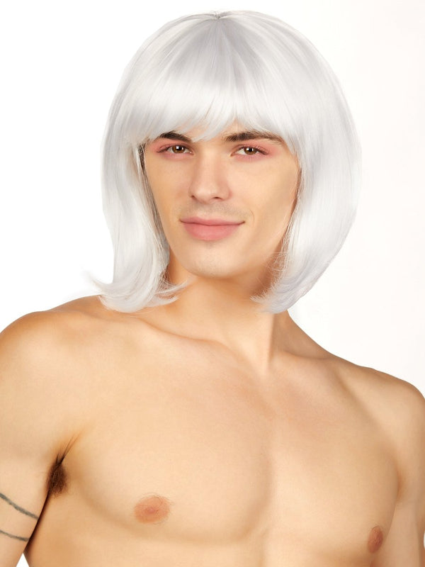 men's white short bob wig