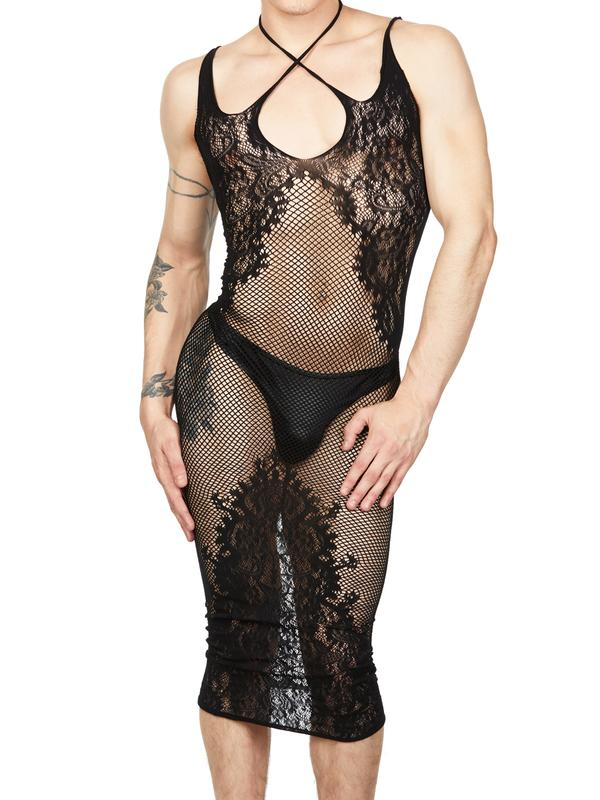 Fishnet and Lace Halter Dress
