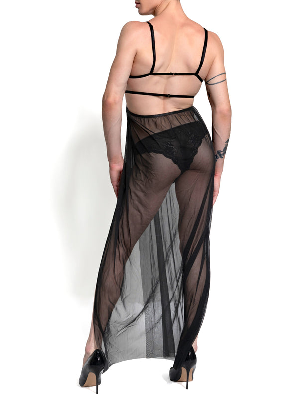 Men's long mesh gown