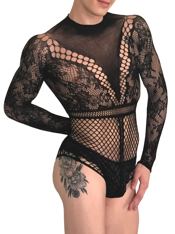 Men's black long sleeve fishnet bodysuit