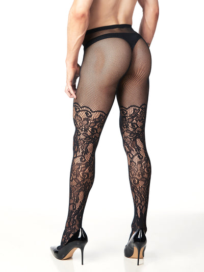 mens' floral fishnet tights