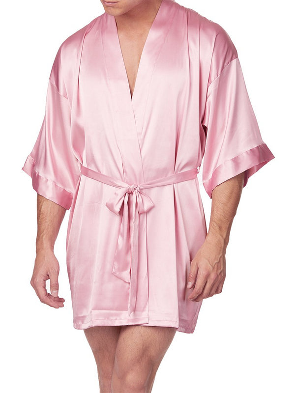 Men's pink satin robe