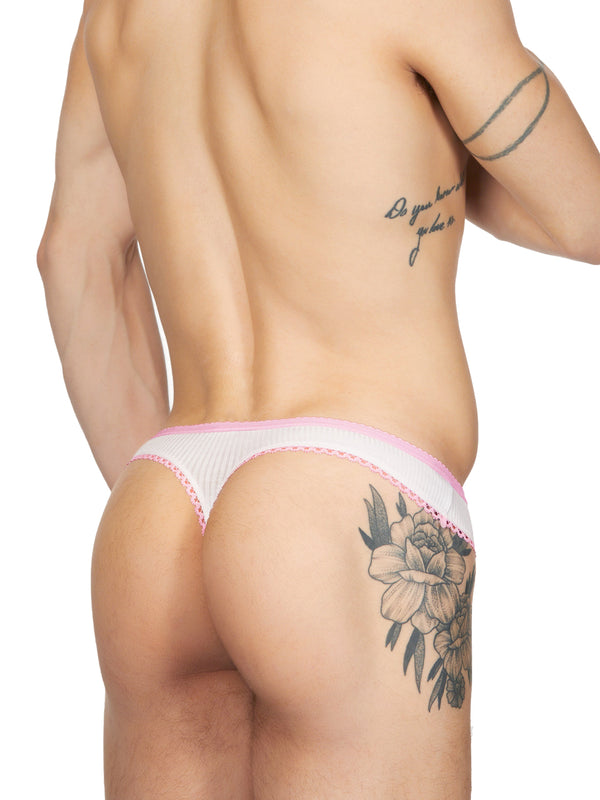 men's white ribbed lacey thong