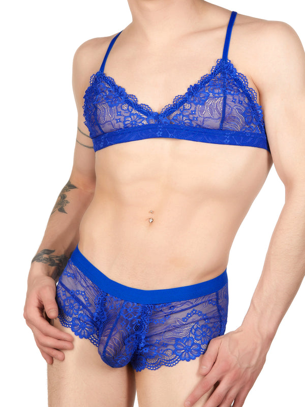 Men's blue lace bra
