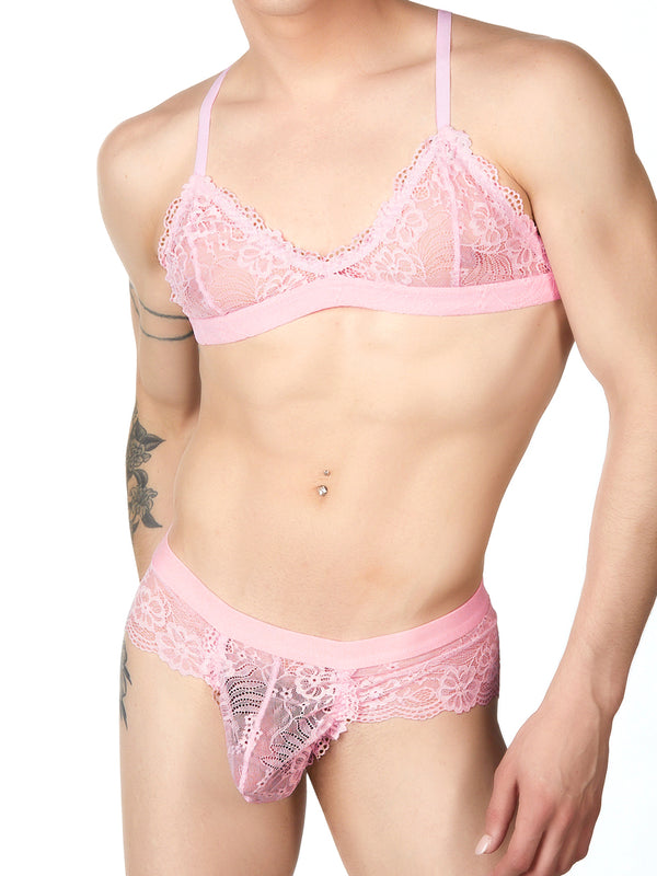 Men's pink lace bra