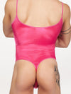 men's pink satin thong bodysuit