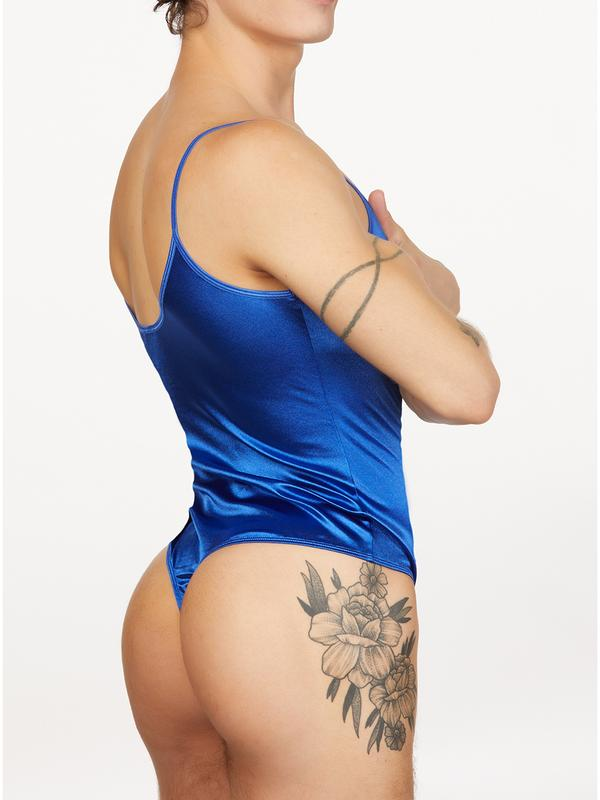 men's blue satin thong bodysuit