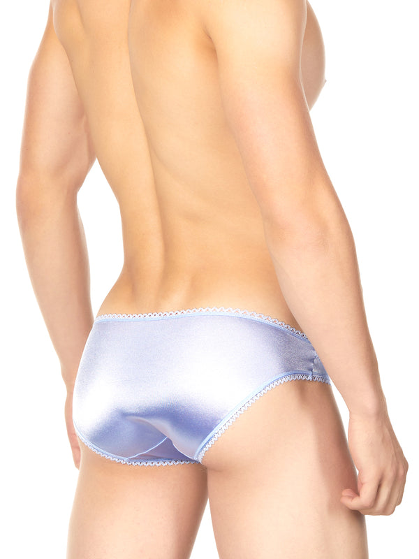 Men's blue satin and lace panty
