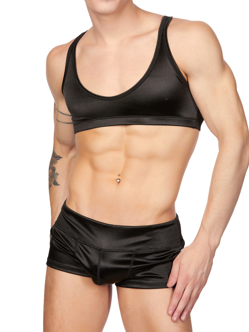 Men's Black Satin Yoga Crop Top