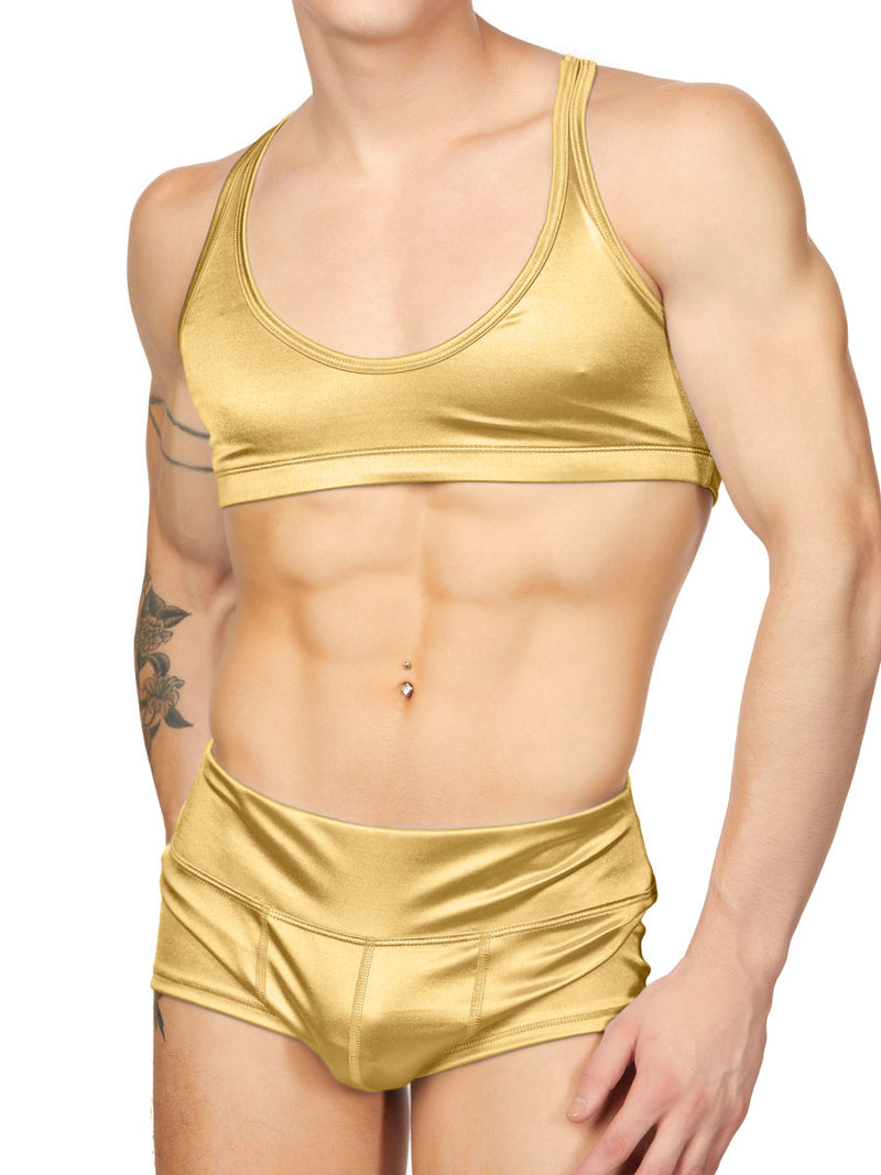Men's Gold Satin Yoga Crop Top