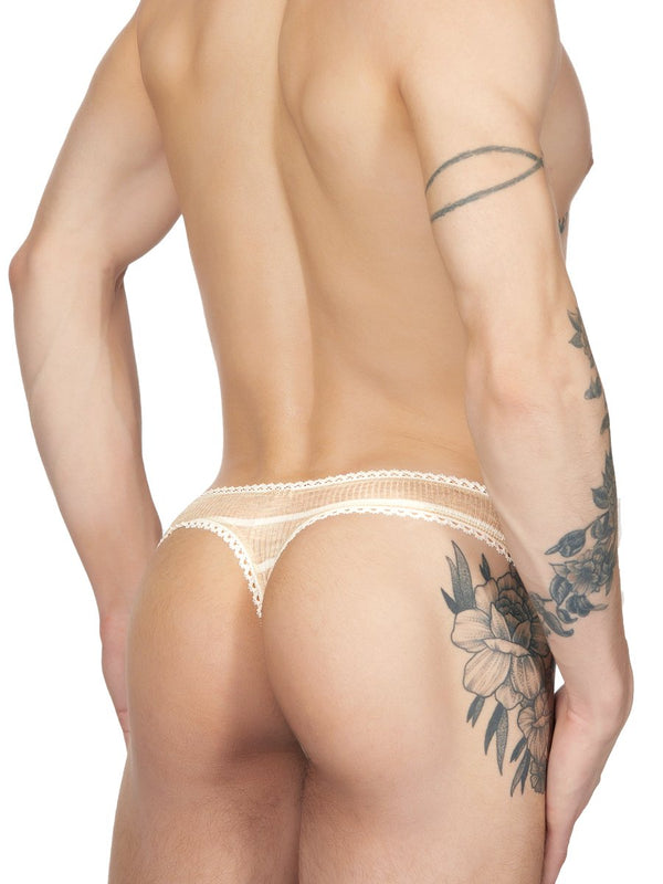 Men's beige ribbed striped picot thong