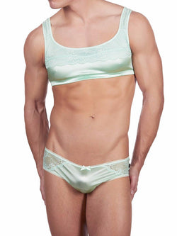 Men's green sexy satin and lace sport bra