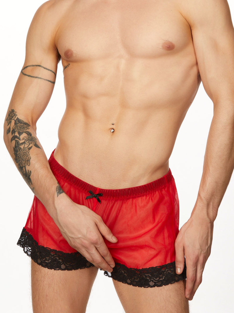 Men's red lace and chiffon shorts