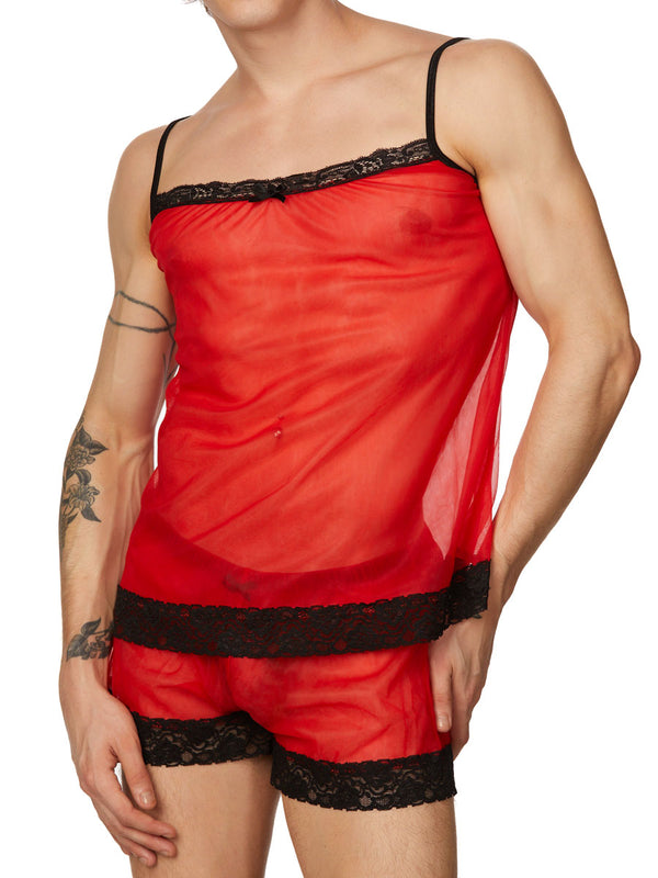 men's red chiffon and lace cami