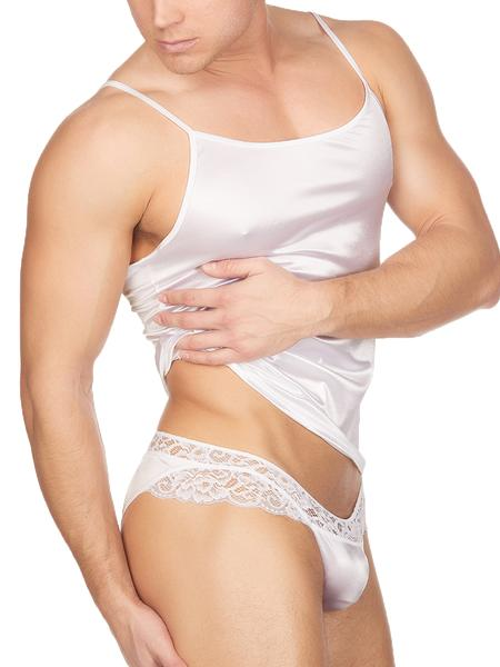 Men's White Satin Camisole