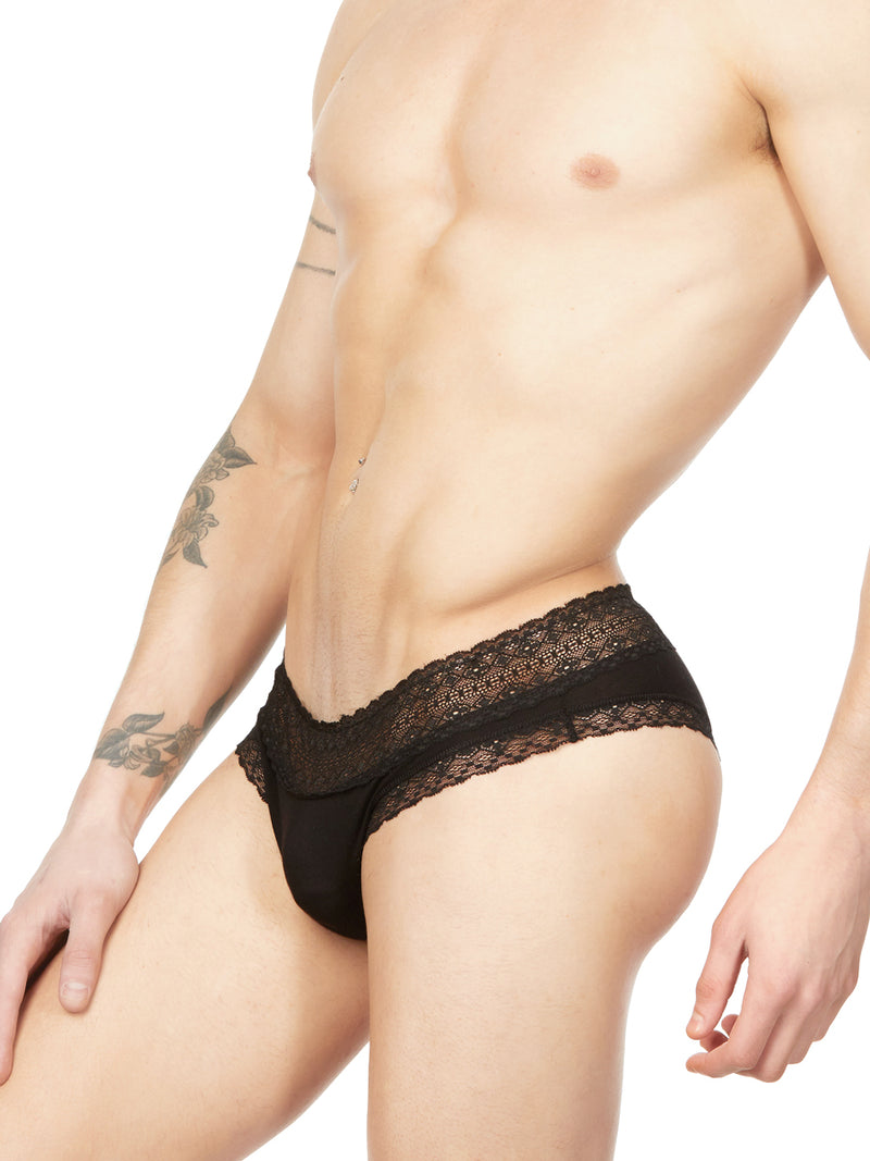 Men's black micro modal and lace panty