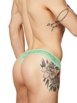 men's green see through lace thong underwear