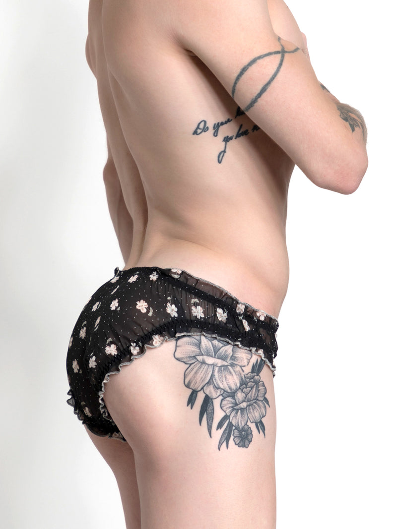 Men's black see-thru floral mesh panty