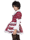 Men's red plaid patterned crossdressing dress