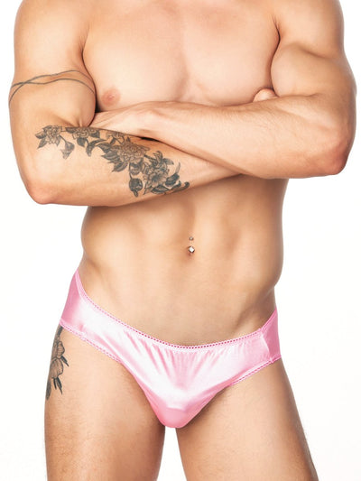 Men's Pink Picot Satin Panties