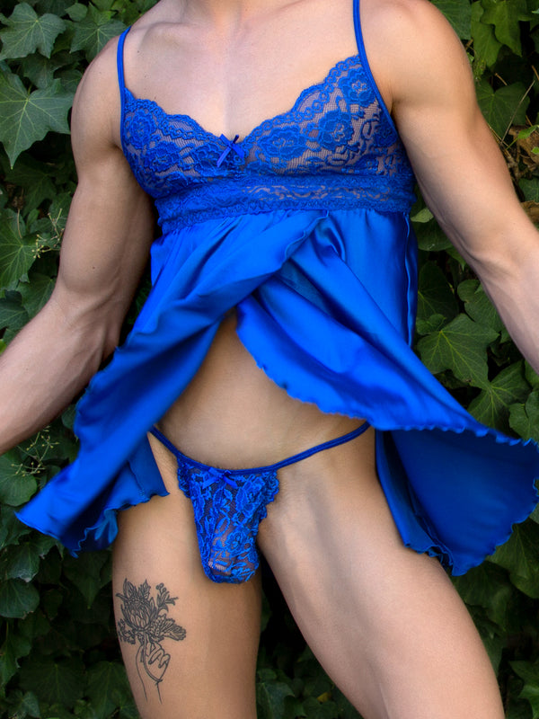 men's blue satin & lace nightie and g-string set